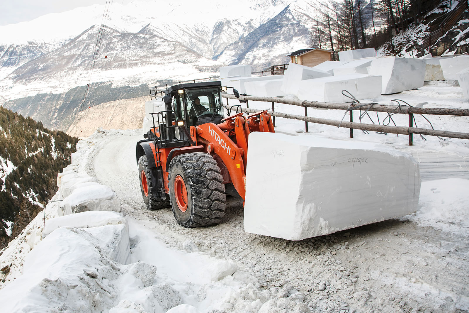 Front view of Hitachi ZW550-5 wheel loader