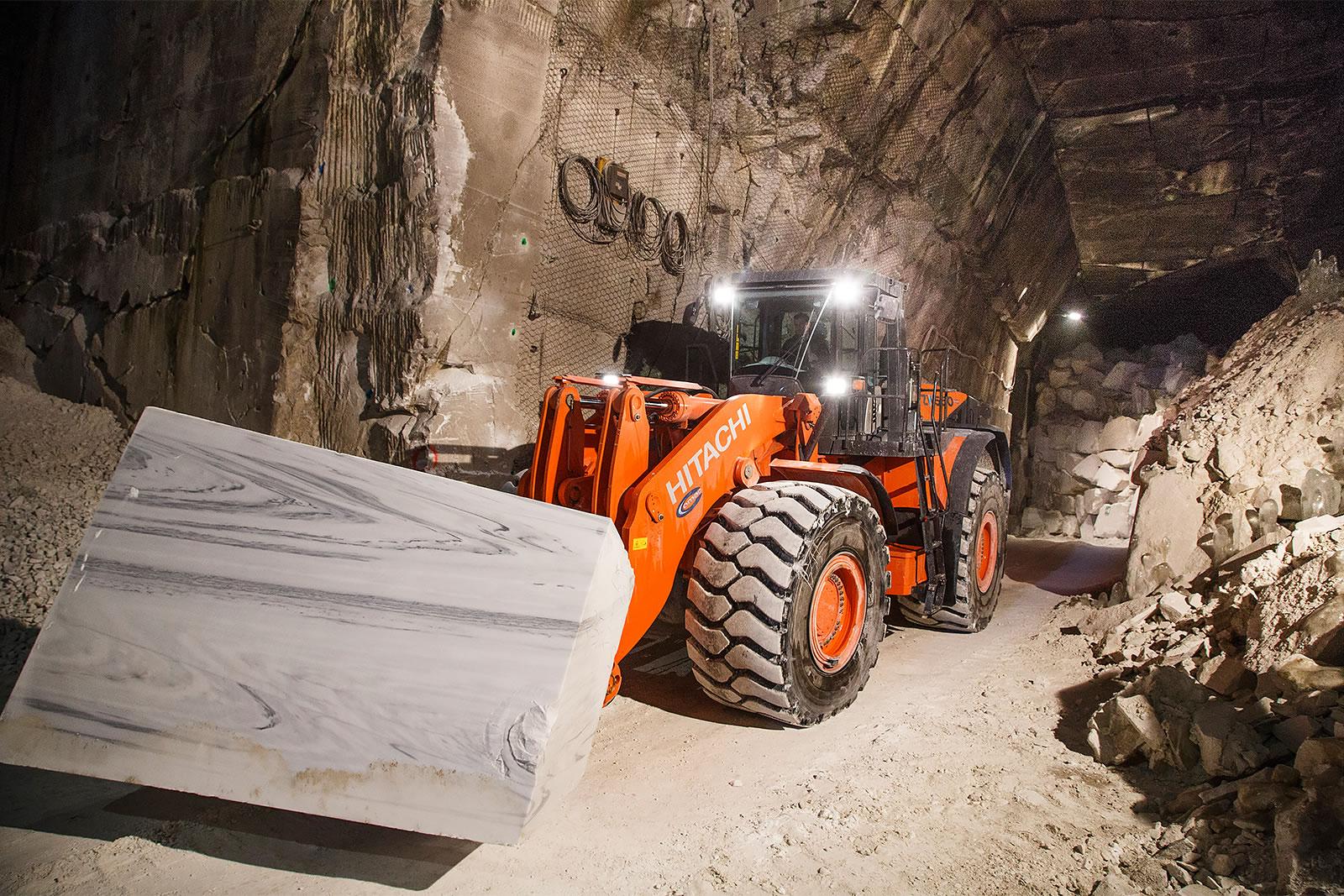 Hitachi ZW550-5 wheel loader in passageway