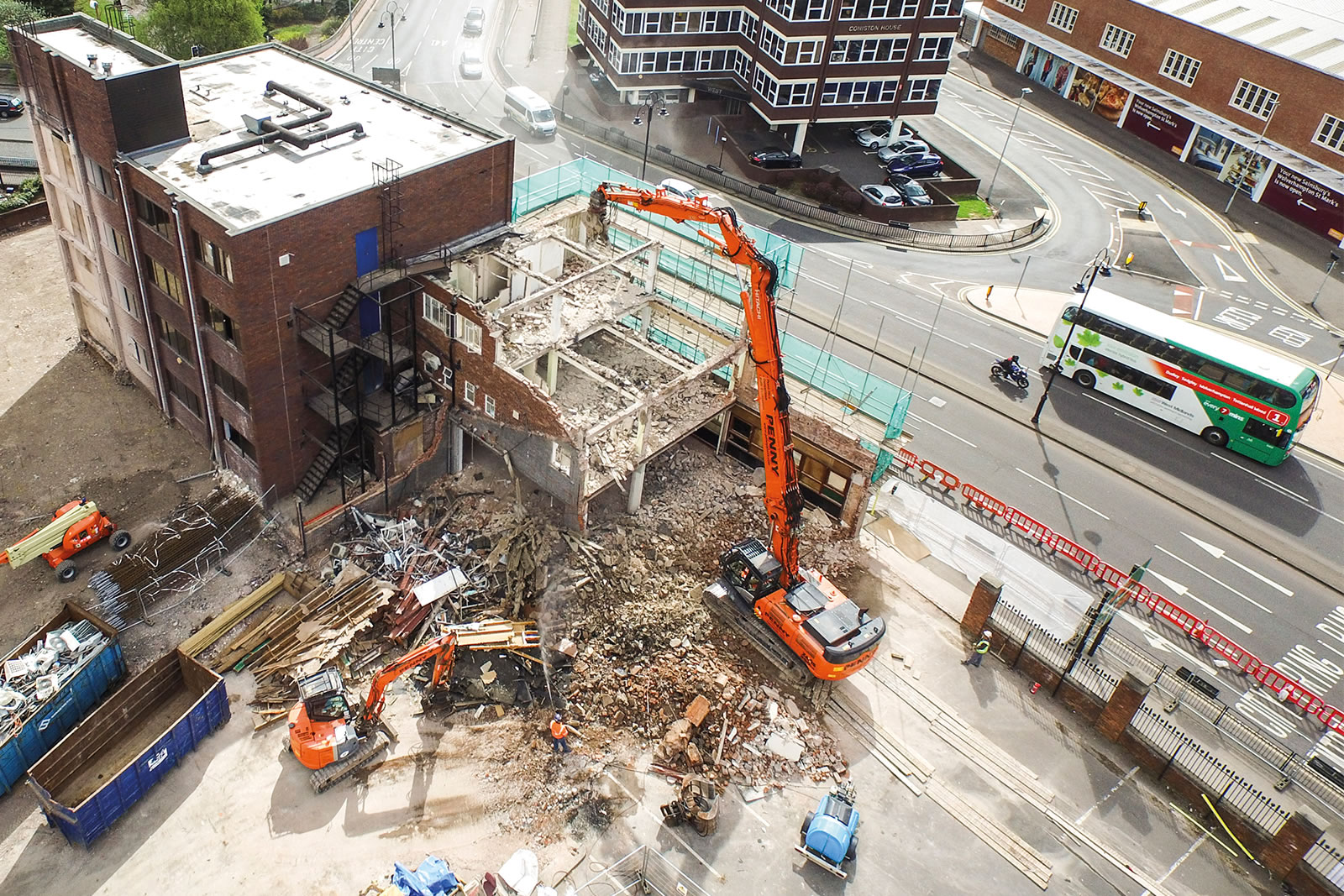 Wide shot of Hitachi ZX350LC-5 high-reach demolition excavator