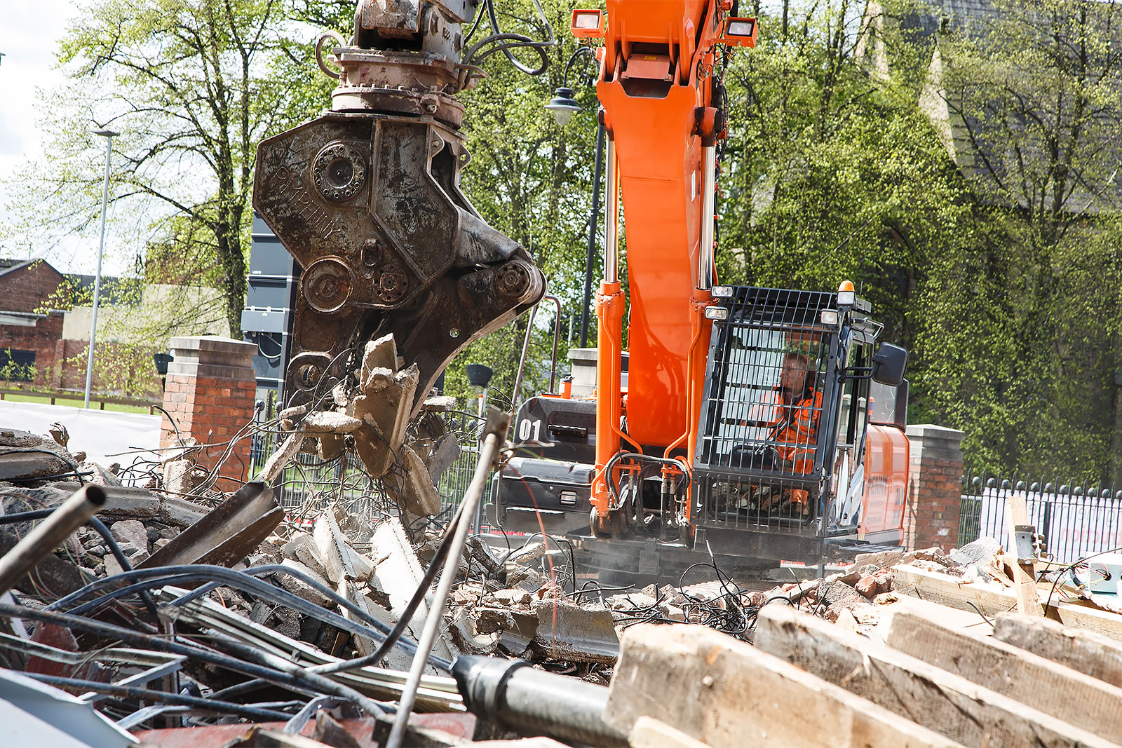 Front view of Hitachi ZX350LC-5 high-reach demolition excavator