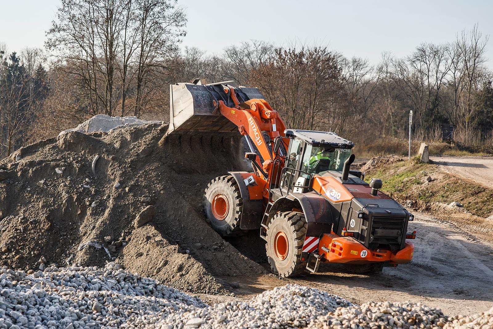 Hitachi ZW310-6 wheel loader dumps the materials for MinERALix