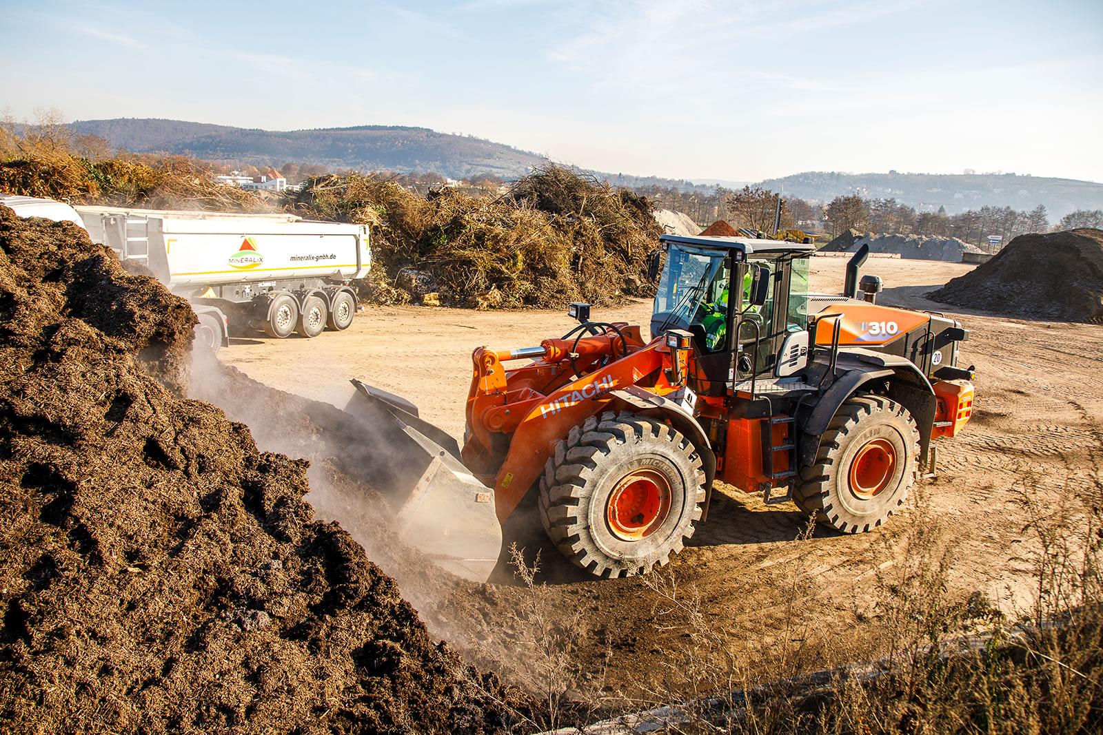 Hitachi ZW310-6 wheel loader loading materials for MinERALix