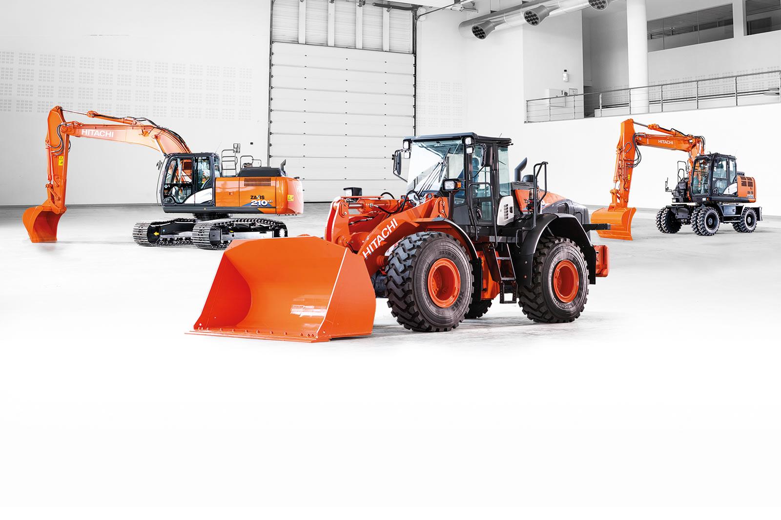 Hitachi dash-6 excavator, wheel loader and wheeled excavator
