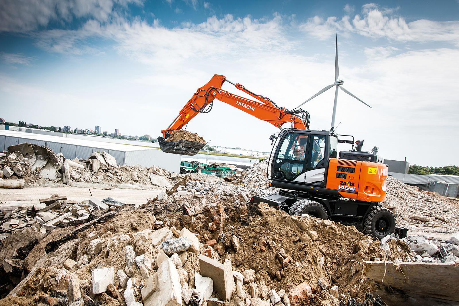 Hitachi ZX145W-6 wheeled excavator at work