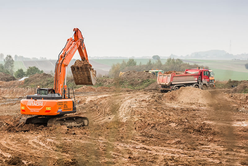 Hitachi ZX350LC-6 excavator works on the A1