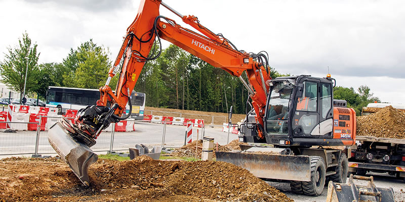 Hitachi excavator working in France