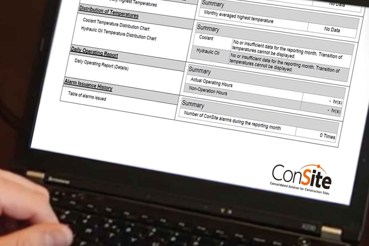 ConSite web page on laptop