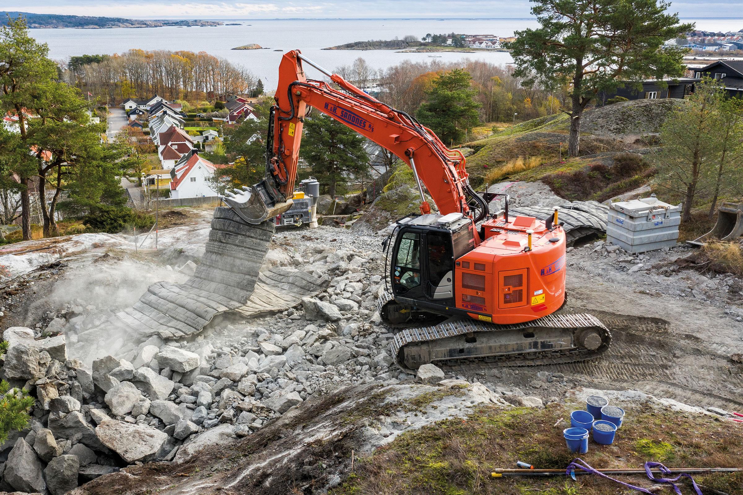 Hitachi excavator on site in Norway