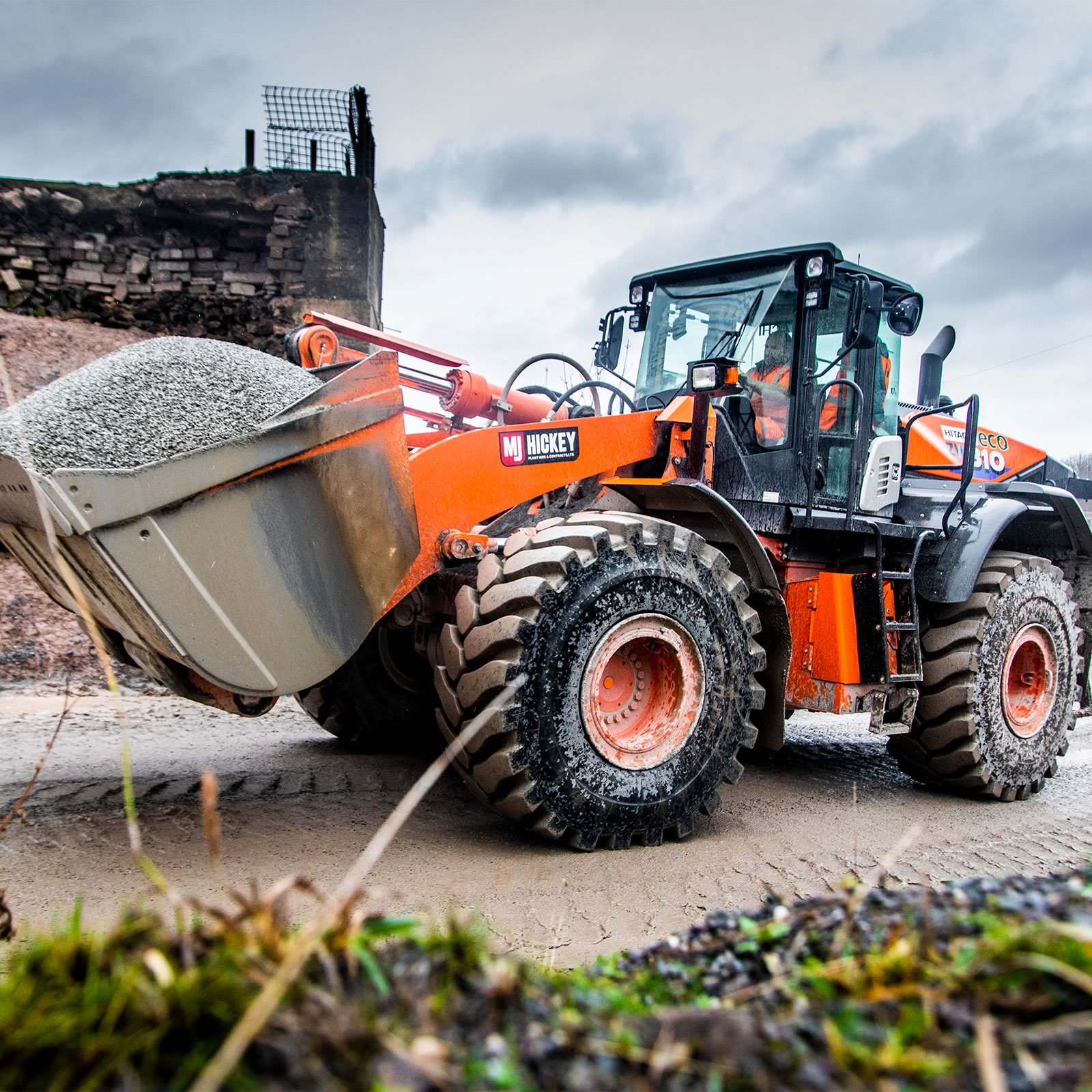 Hitachi ZW310-6 wheel loader on site at a quarry in the UK