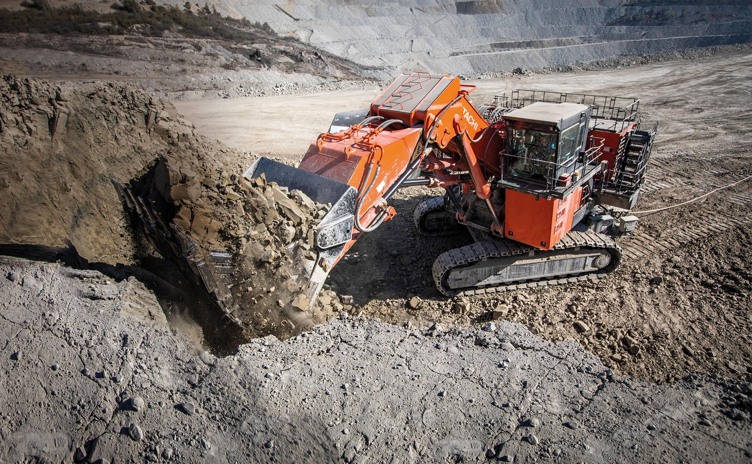 Hitachi large excavator in mine