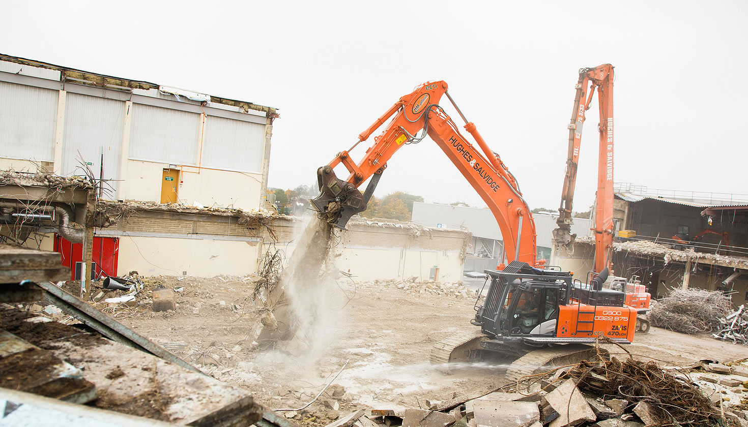 Hitachi ZX470LCH-5 excavator with cab modifications