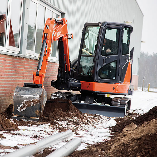 Zaxis-5 mini at work in a confined space