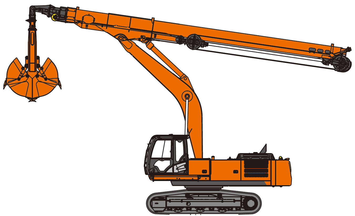 Clamshell telescopic arm excavators - Hitachi Construction Machinery