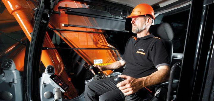 Comfortable cab in Hitachi Zaxis-7 excavator